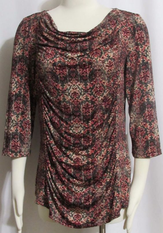 NEW Womens Ladies TRIBAL Coral & Green Floral Silky Stretch Blend Top M Orig…