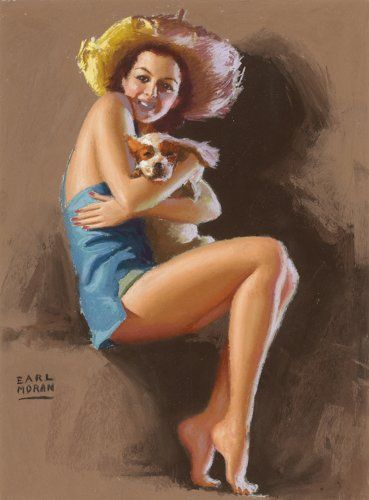 Pin-up and Glamour Art, EARL MORAN (American, 1893-1984). Pin-Up. Pastel on board.18 x 14 in.. Signed lower left. ...