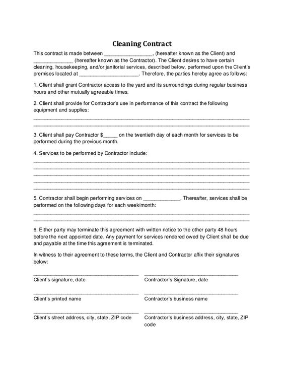 Cleaning Contract - examples printable doc business Pinterest