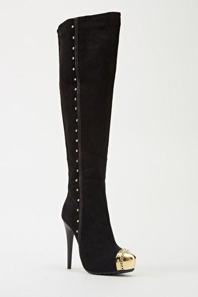Black Embellished Knee High Boots