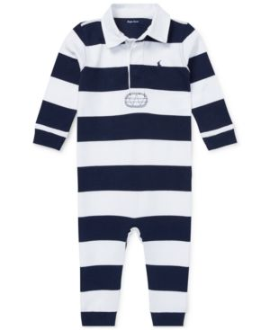 Ralph Lauren Baby Boys Striped Cotton Jersey Coverall French Navy Multi
