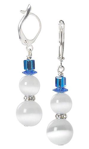 Snowman Earrings with Cat's Eye Glass Beads, Swarovski Crystal Beads and Miyuki Seed Beads - Fire Mountain Gems and Beads
