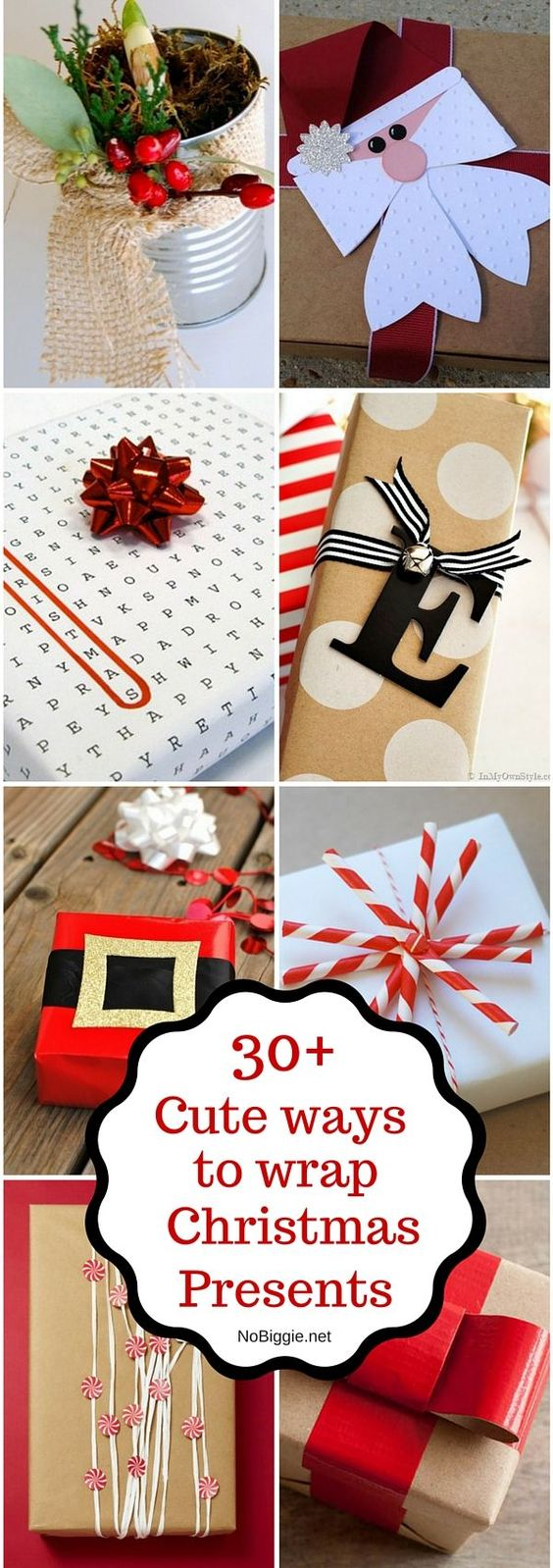 30+ Christmas Wrapping Ideas - awesome ideas for wrapping Christmas gifts: