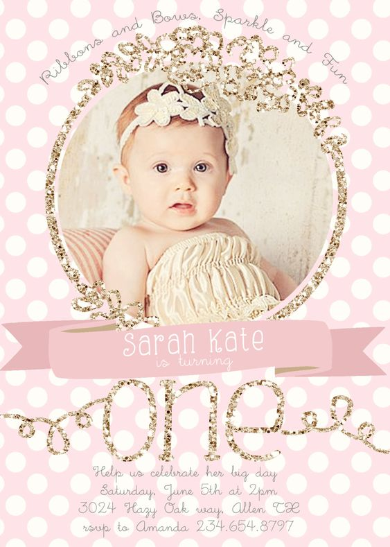 First Birthday Invitations Pink And Gold By RachellesPrintables - First birthday invitations girl pink and gold