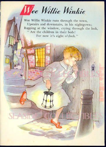 1950s Childrens Poems Details Zu Hilda Boswell 50s Wee Willie Winkie Nursery Rhyme Print