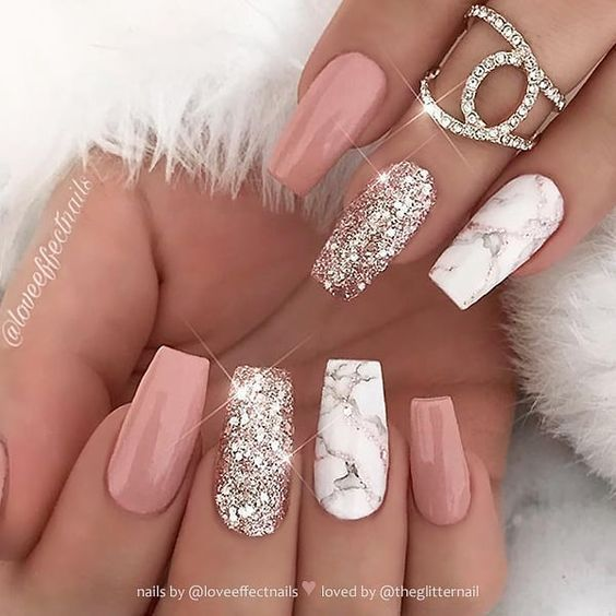 Marble Coffin Nail Designs Have Become More And More Popular In Recent Years And The Trend Has Not In 2020 Pink Nail Art Designs Pink Glitter Nails White Nail Designs
