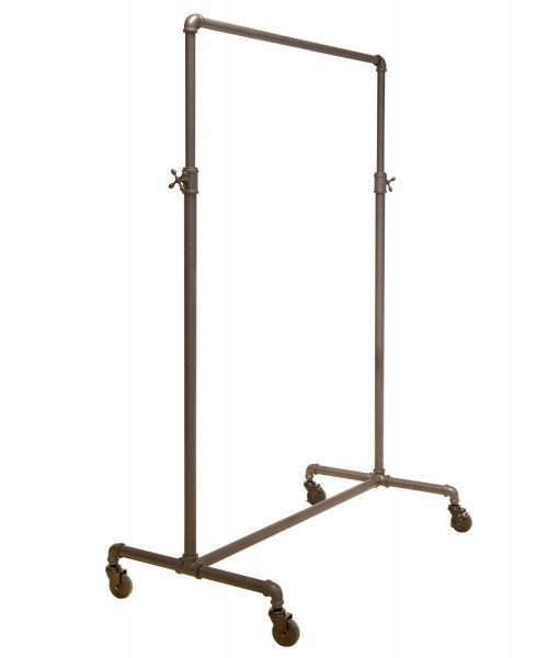 Coal Grey Single Rail Pipeline Collection Rolling Clothing Rack