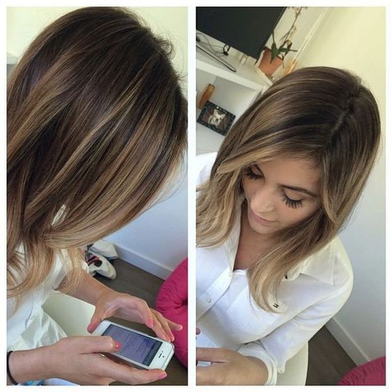 brunette highlights balayage