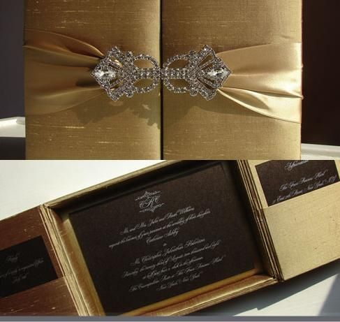 "Everyone knows I love gold!!!! This silk box is sure to bring out the ""wow"" factor for guests receiving this invitation."