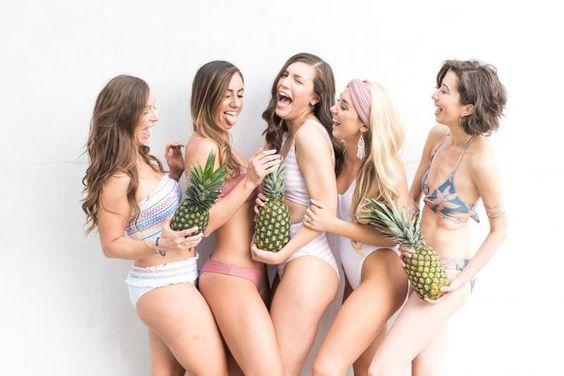 Holding pineapples: A colorful blogger shoot at the Pool: Vix Margarita Bikini // The Primpy Sheep Blog - elevated fashion & stylish destinations