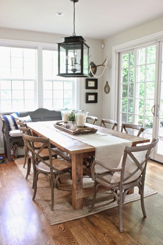 Stylish Dining Room Rug Ideas To Beautify Your Dining Area Decortrendy In 2020 Farmhouse Dining Room Table Dining Room Decor Rustic Interior Design Dining Room