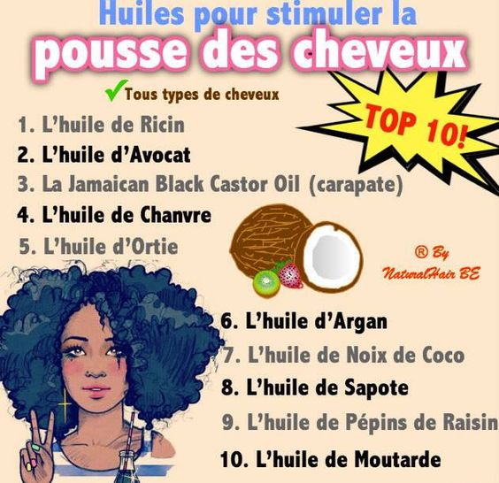 top 10 des huiles pour stimuler la pousse des cheveux 1 ricin 2 avocat 3 carapate 4. Black Bedroom Furniture Sets. Home Design Ideas