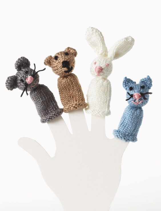 Easy Finger Puppet Knitting Pattern : Yarnspirations bernat bear bunny kitty and mouse