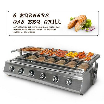 Commercial 6 Burner Lpg Gas Bbq Steel Grill Outdoor Cooker Grill Net 78 25cm In 2020 Gas Bbq Outdoor Cooker Gas And Charcoal Grill
