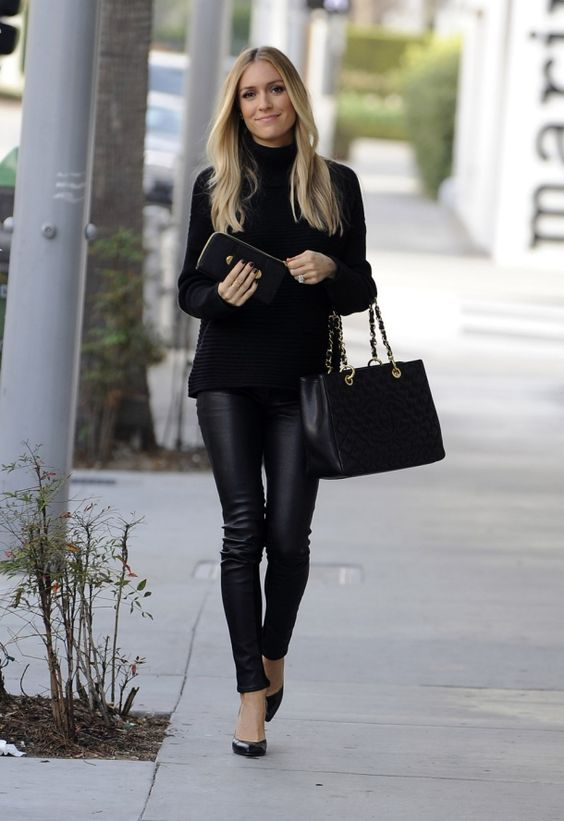 Kristin Cavallari in Rag & Bone Reverse Jodhpur Leather Pants: