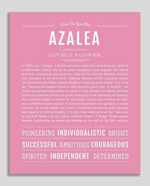Azalea Name Art Print Personalized Art Print Classic Names How To Memorize Things