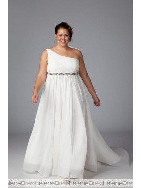 Amazing Empire One-Shoulder Floor-Length Watteau Beaded Plus Size Wedding Dreses