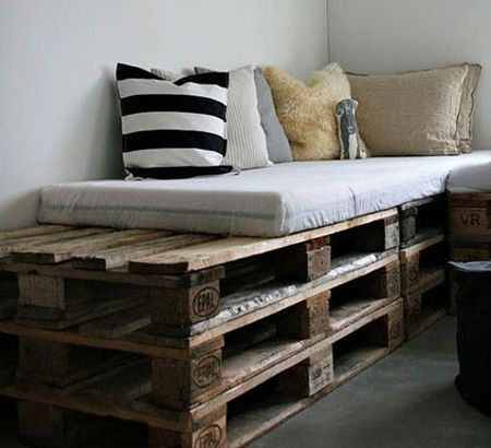 Pallet platforms for the living room | Stack them one on top of the other and you have a raised sitting place. Spread them out one next to the other and you have a dorm bed! Stack them up in ascending order and you have theatre seats! Works best if you are an entertainer! :)