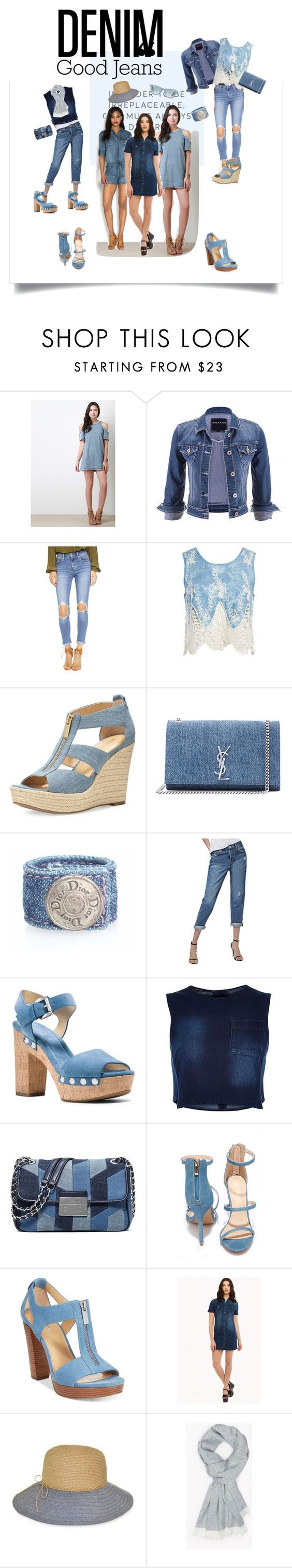 """Denim"" by alyssab7 ❤ liked on Polyvore featuring maurices, Levi's, Sans Souci, MICHAEL Michael Kors, Yves Saint Laurent, Topshop, River Island, Liliana, Michael Kors and Nine West"