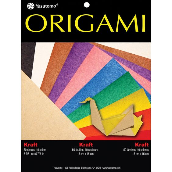 Fold 'Ems Origami Paper 5.875in 50/Pkg Kraft W/Assorted Colors