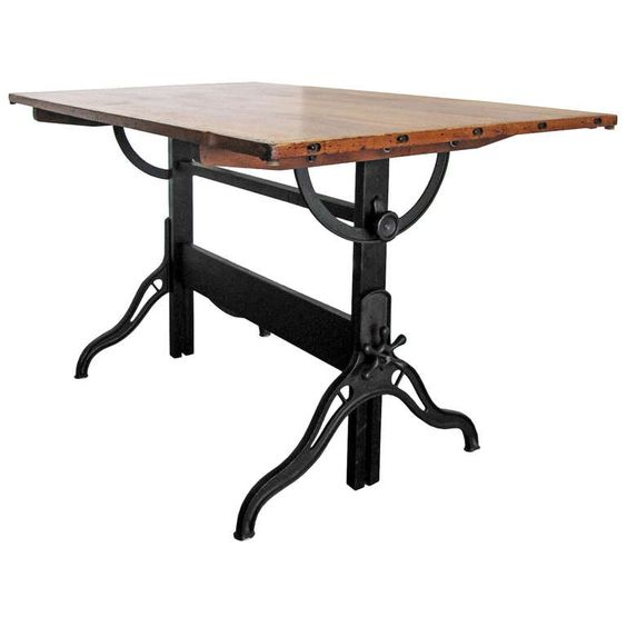 Industrial Drafting Table | From a unique collection of antique and modern industrial and work tables at http://www.1stdibs.com/furniture/tables/industrial-work-tables/