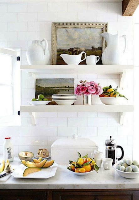 I love everything in this picture! Open shelving with art. #kitchen: