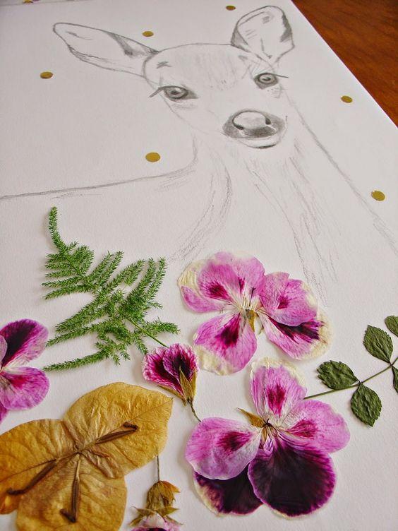 Uma Composição Diferente :: Desenho de Jovem Veado com Flores Secas