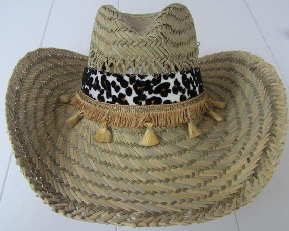 Ibiza stro hoed zwart, creme en goud