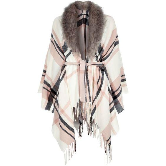 Roze cape met schotse ruit en imitatiebontrand (¥9,870) ❤ liked on Polyvore featuring outerwear, white cape, tartan cape, white cape coat, plaid cape and plaid cape coat