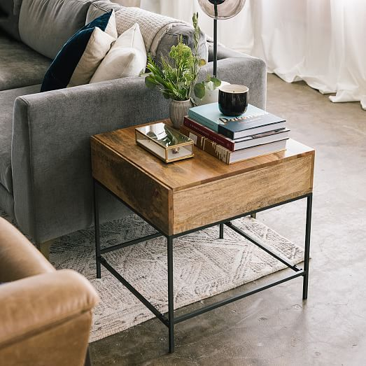 Industrial Storage Side Table Industrial Decor Living Room Side Table Decor Living Room Side Table