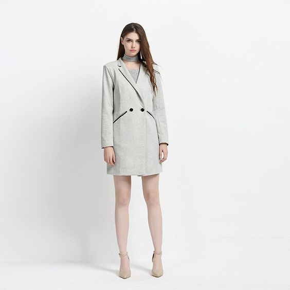 European and American fashion leisure fan in the long section of the double breasted suit slim solid long sleeved jacket  $45.00 www.ShopDulceVida.com . . #fashion #me #blouse #florida #cute #selfie #blouses #summer #atlanta #virginia #lol #shirt #Sweater #bestoftheday #clothing