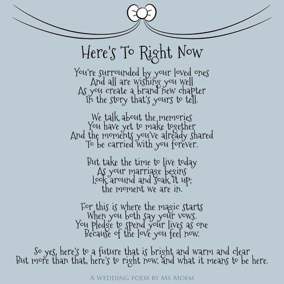 Heres To Right Now Wedding Poem By English Poet Ms Moem MsMoem