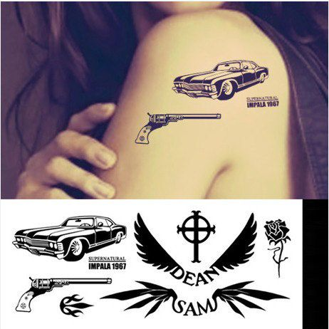 1967 chevy impala supernatural dean sam colt gun pistol for Dean and sams tattoo