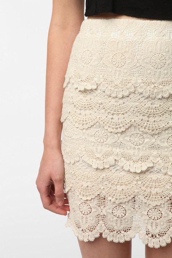 Staring at Stars Tiered Crochet Mini Skirt: Cream Lace Skirt, Crochet Style, Mini Skirts, Crochet Lace, Crochet Skirts, Lace Skirts, Cute Skirts
