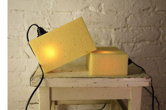 """""""Mr. Mellow"""" table lamp made from a sponge-encased lightbulb by Sarah Böttger."""