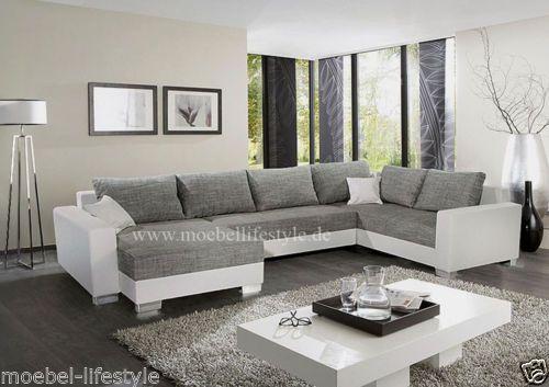 wohnlandschaft-xl-format-ecksofa-im-u-form-in-weiss-grau-sofa ... - Wohnzimmer Couch Weis Grau