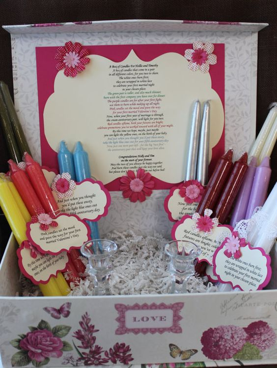 Candle Poem Gift Set. Bridal candle basket. Sentimental wedding gift ...