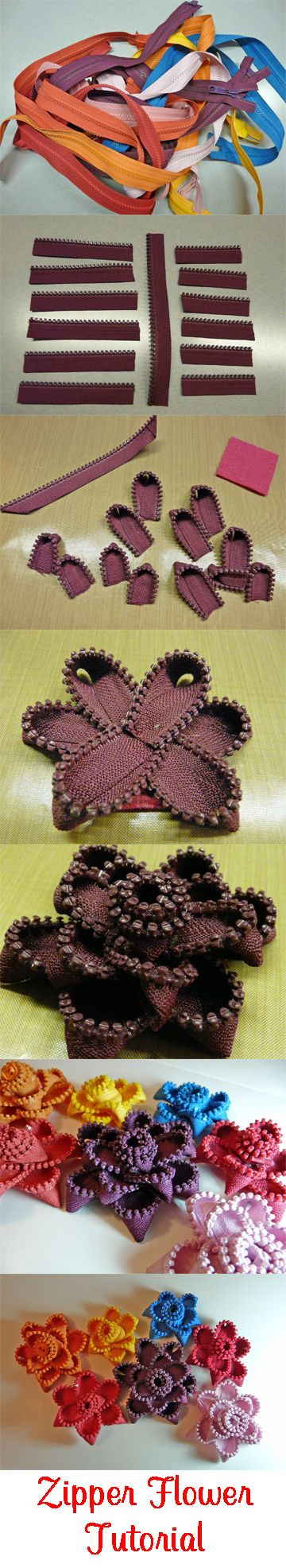 No-Sew Zipper Flower Tutorial from CardsByStephanie.com: