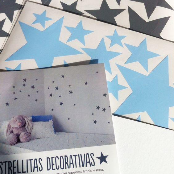 Gray and baby blue stars wallstickers  Nicolasito.es