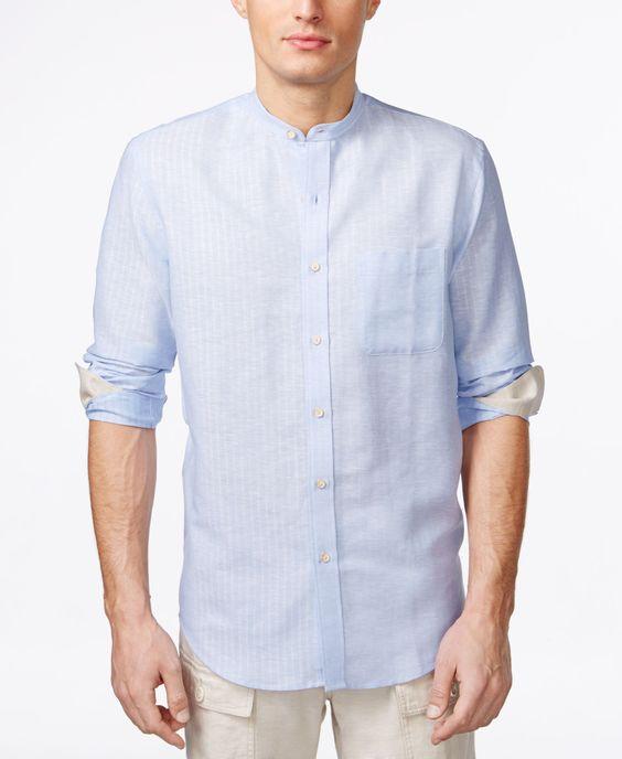Tasso Elba Island Banded Collar Textured Striped Shirt