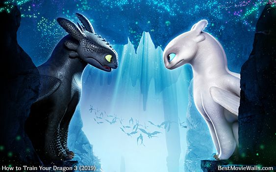 Toothless /& Light Fury I Love You The Most Satin Landscape Poster
