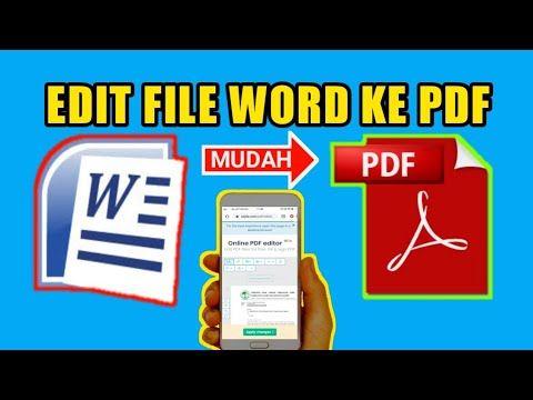 Cara Ubah File Word Ke Pdf Youtube In 2020 Words Word File Pdf
