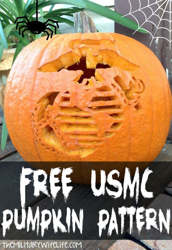 Support our troops this Halloween with this free Marine Corps pumpkin pattern. It's still not too late to carve a pumpkin! #usmc
