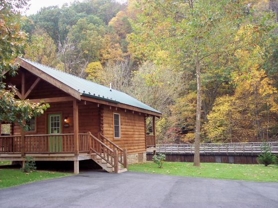 New river trail cabins offers virginia log cabin rentals for Log cabin blue mountains