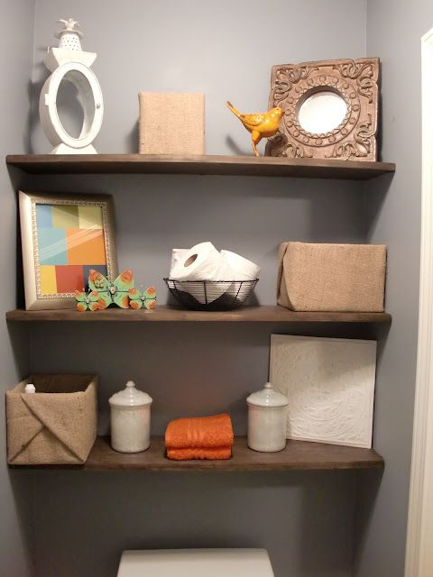 Bathroom Shelves... Im thinking a few little ones above the toilet then a level of them a corner for towels!