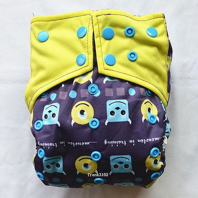 1-AIO-Monster-Reusable-Washable-Cloth-Diaper-Nappy-Sewn-in-Charcoal-Insert-Night