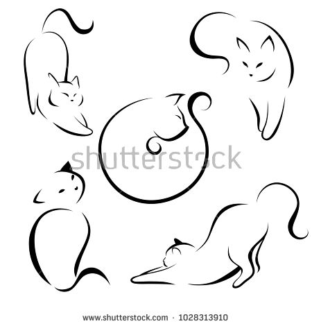 Cats Black Lines Linear Design Cats Vector Illustration Cat Tattoos Katze Kunstproduktion Katzen Tattoo Silhouette