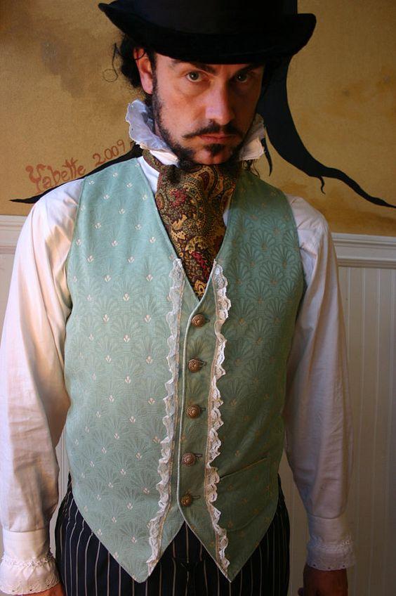 Verde salvia y crema Noble fronda atado chaleco de caballeros victorianos