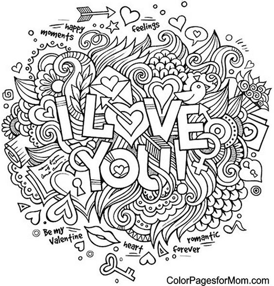 Doodle Love You Colouring Adult Coloring Pages Color Page On Etsy