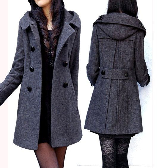 women&39s dark grey Wool Hooded coat double breasted button Coat